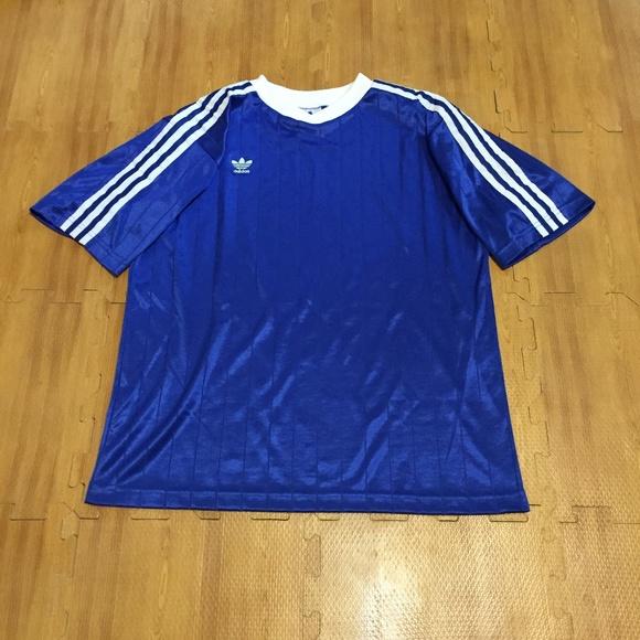 Vintage Adidas Men`s Large Blue Soccer Jersey